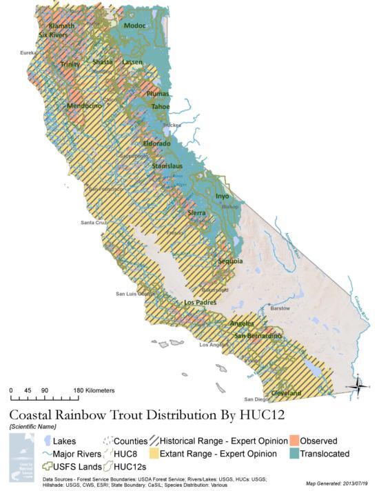 California Map Lakes.Pisces Distribution Maps California Fish Website